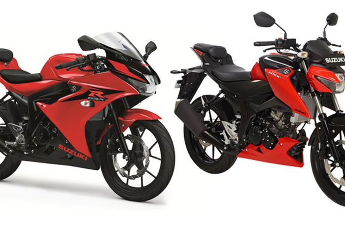 GSX-R 150 dan GSX-S 150 warna stronger red/titan black